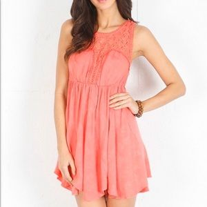 FREE PEOPLE LACE FIESTA Dress In Coral